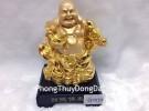 Phật di lặc vàng gánh gậy như ý G143A