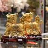 Cặp kỳ lân vàng đế gỗ C085A