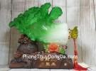 Bắp cải xanh khủng cuốn lưu ly trên đế gỗ túi tiền LN067