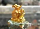 Chuột ôm bắp vàng đế thủy tinh TM030